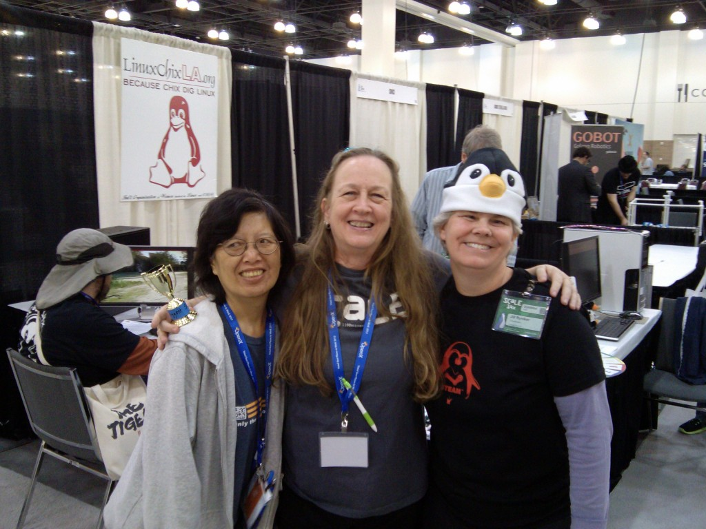 "LinuxChix LA @ SCaLE 14x!!!!! Yeah! We won the award for ""Biggest SCaLE Spirit!"" Thank you to our friends and family of SCaLE and we will miss you till next year smile emoticon #scale14x — with Betty Chung and Sharon Lake at SCALE."