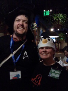 Our LinuxChix LA Dead Dog Party @ Islands! Jill & Robert :-)